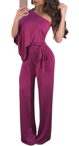 palazzo rosa fiusha un hombro sexy moda fiest jumpsuit dama