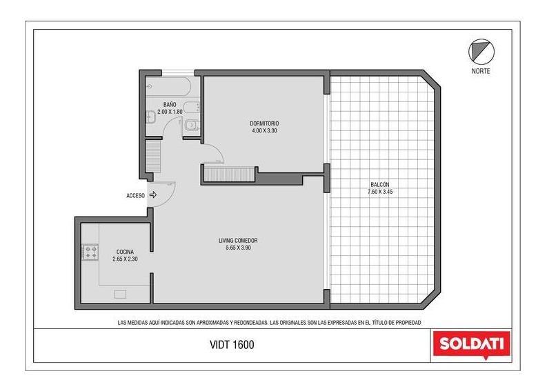 palermo - vidt 1600 - excelente 2 amb con terraza y cochera