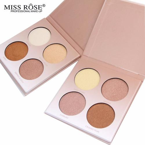 paleta de iluminador profissional miss rose n1 n2 .