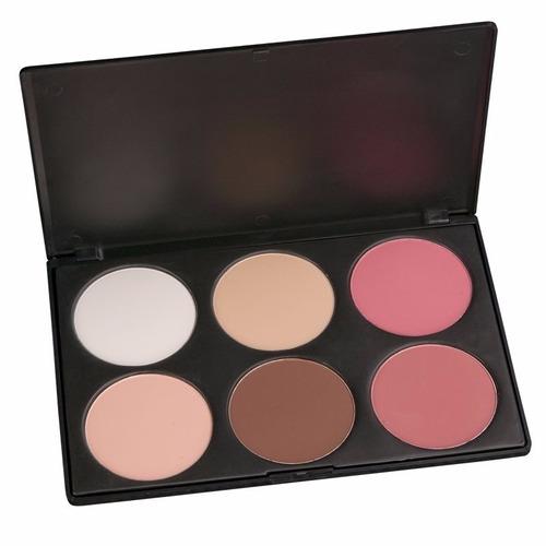 paleta de maquillaje 6 contornos y rubor facial