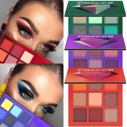 paleta de sombras 9 colores brillo pigmentación ojo envio g