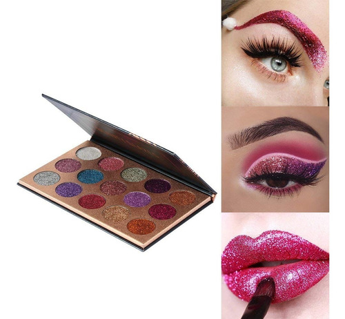 paleta de sombras glitter de 15 colores beauty glazed origin