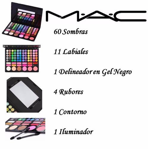 paleta de sombras mac + paleta contornos mac+esponja+brillo