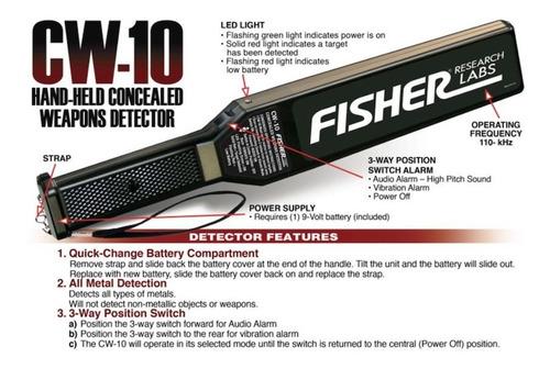 paleta fisher cw-10 detector de armas metal seguridad cortes