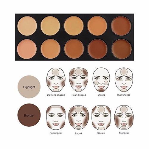 paleta maquillaje 10 correctores + brocha ovalada + esponja
