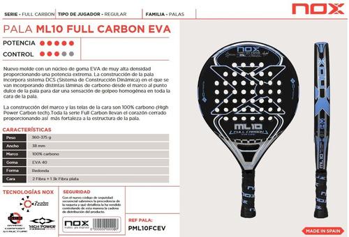 paleta padel nox ml 10 eva soft core carbon + regalo - estacion deportes olivos