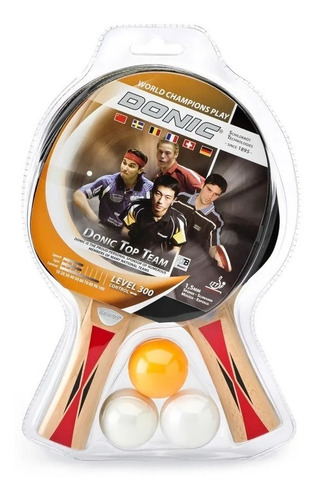 paleta ping pong donic x 2 set pelota x 3 top team 300 kit
