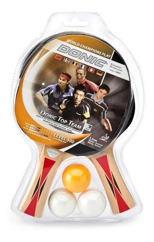 paleta ping pong donic x2 set pelota x 3 top team 300 cuotas