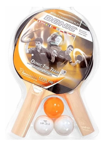 paleta ping pong donic x2 top team 100 set pelotitas x 3 kit