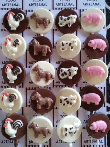 paletas chupetines de chocolate animales granja pack 10 unid