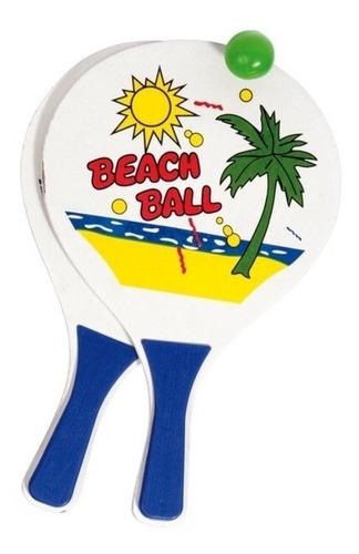paletas de madera + pelota juego playa arena geoventas