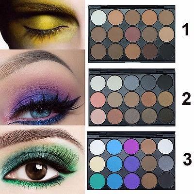 paletas de sombras de ojos de 15 colores, matte y brillo