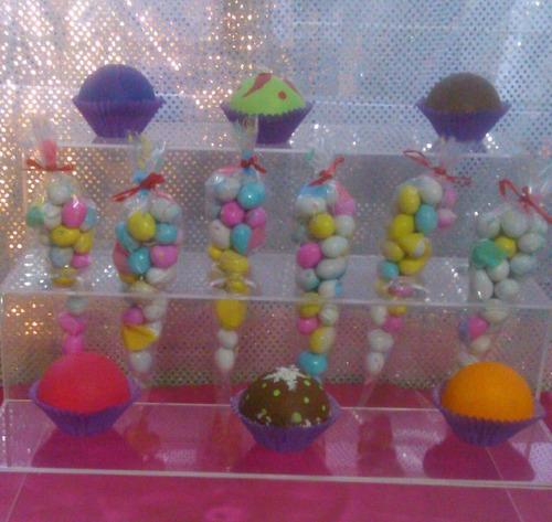 paletero  de acrilico para  mesa de dulces  50cm 3 pzs