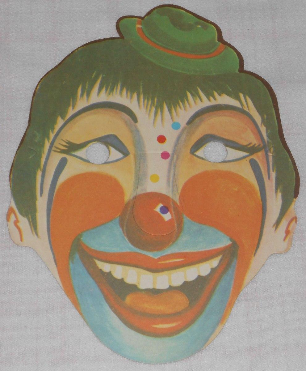 Palhaço Máscara Carnaval Antiga Papelão 100 Perfeita Anos70 R 38
