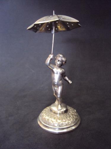 paliteiro wmf menino com guarda chuva banho de prata - 1920