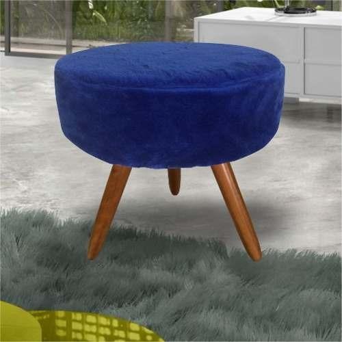 Puff Decor Pe Palito Madeira Sala Di Casa Tec Pelucia Azul R 129