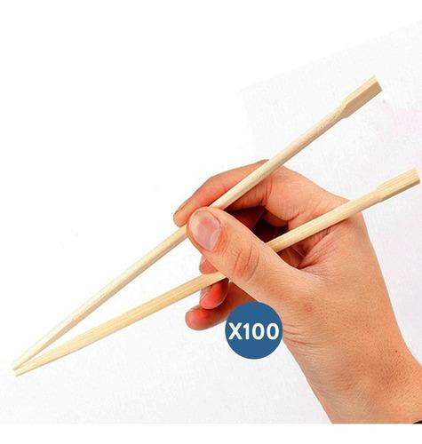 palitos chinos de bambu largos sushi x100