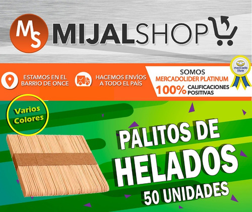 palitos de helado color madera pack x50 manualidades hobbies