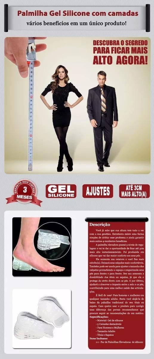 5e3d5a90a0 Palmilha Elevator Gel Silicone Aumenta Sua Altura Até 5cm - R  30