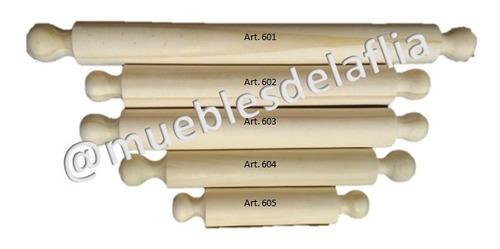 palo de amasar de madera. set x 3 unidades.