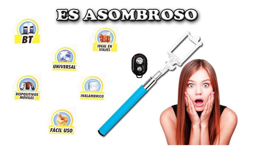 palo para selfies con dispador inalambrico via bluetooth wow