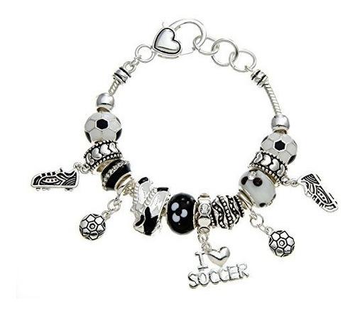pammyj brazalete de perlas con esfera de futbol en blanco y