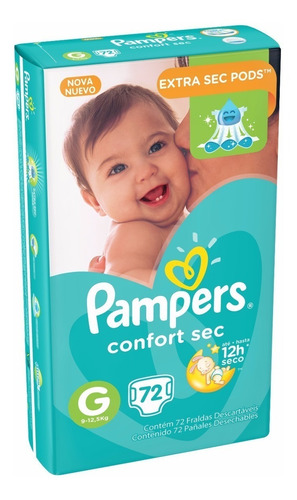 pampers confort sec grande 72 pañales x 2 paquetes