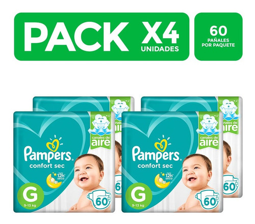 pampers confort sec talla g 60 unidades packx4