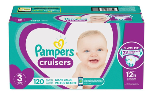 pampers cruisers etapa 3, 120 pañales unisex