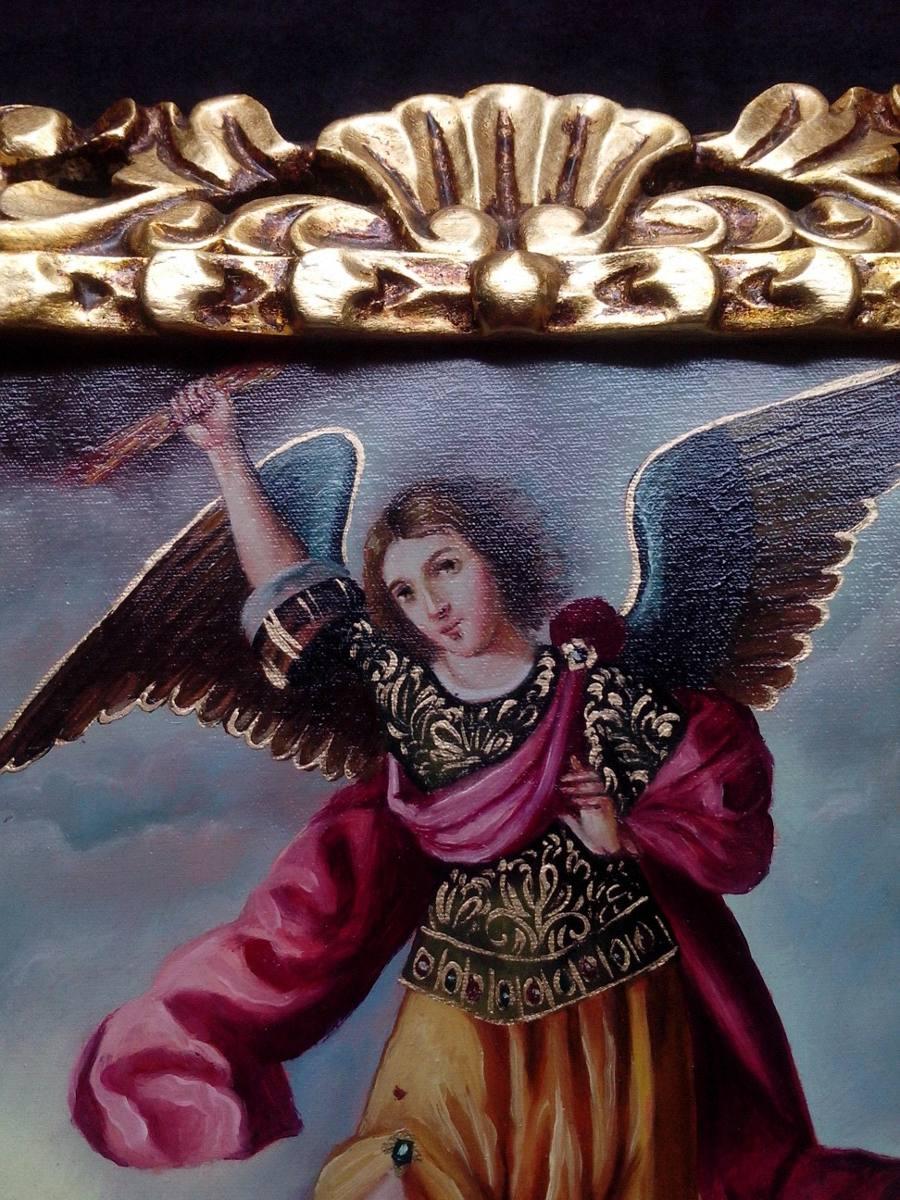 Pan De Bronce & Oro Marco Y Pintura Al Oleo Arcangel - S/ 380,00 en ...