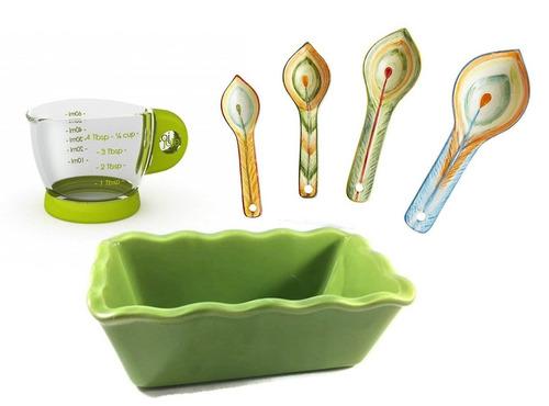 pan de cerámica mini pan, cucharas de medició + envio gratis