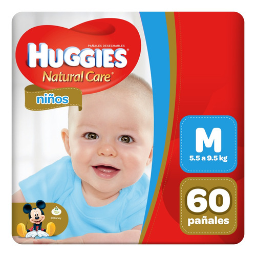 pañal huggies natural care niño m 60 unid