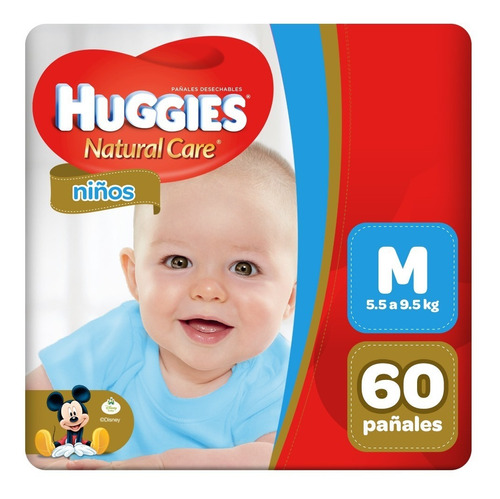 pañal huggies natural care niño m 60 unid