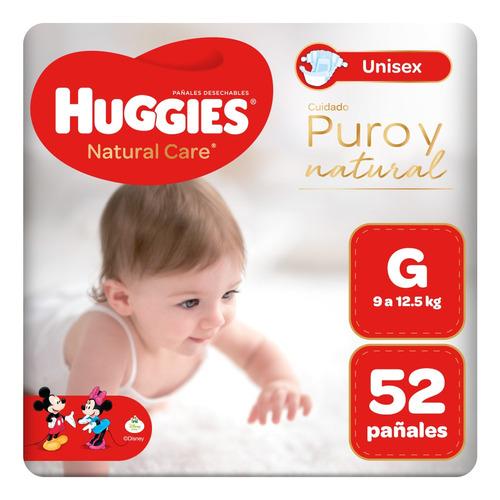 pañal huggies natural care unisex talla g 52 unid