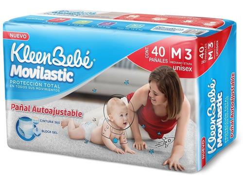 pañal para bebé kleenbebe movilastic mediano e3 40pza