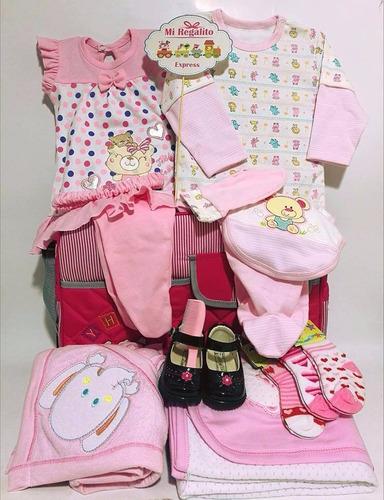 pañalera c/ajuar de niña -regalo baby shower todo listo bab