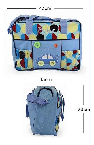 pañalera con cambiador para bebé mifanqi button azul