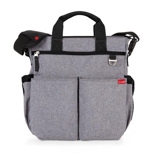 pañalera con forma de bolso, de color gris