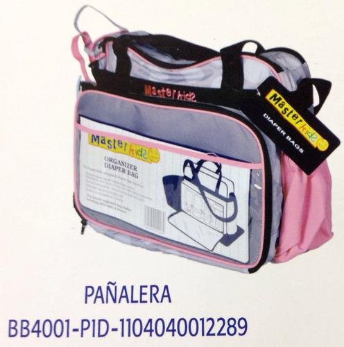 pañalera con impermeable,cambiador y organizador rosado/gris