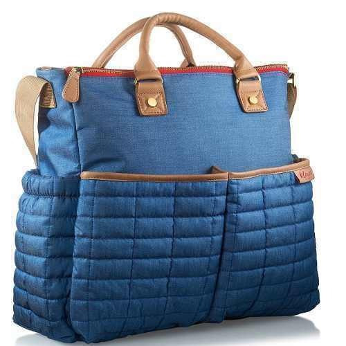 pañalera de maman - tote  con cojín  estilo para mamás azul