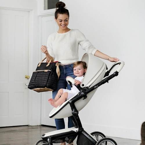 pañalera de maman - tote  con cojín  estilo para mamás negra