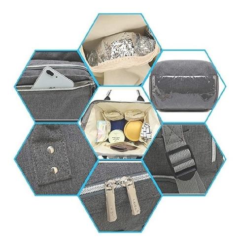 pañalera moderna grande color gris con manoplas