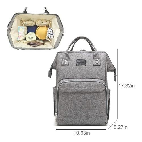 pañalera moderna tipo bolso color gris grande