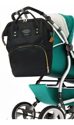 pañalera moderno tipo bolso color negro y gris