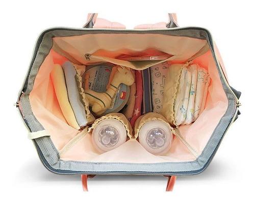 pañalera multifuncional cambiador bolso morral gris con azul