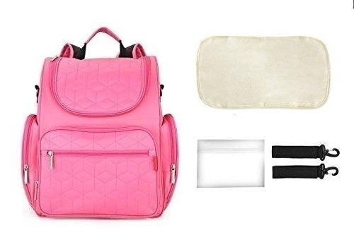 pañalera rosada multifuncional 9 bolsillos + cargadera coche
