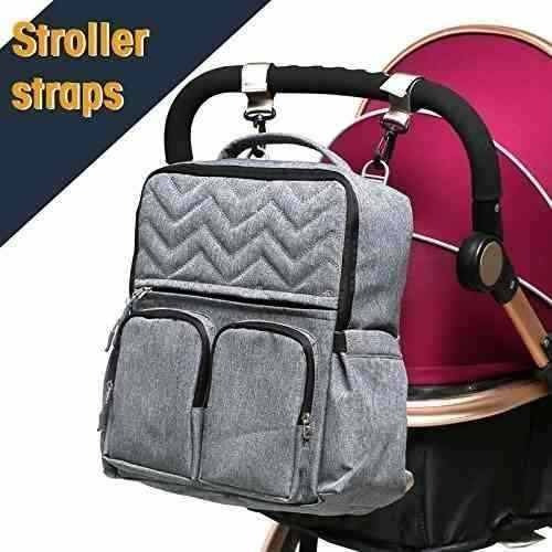 pañalera soho  backpack new york chevron 5pcs set gris