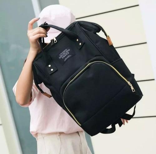 pañalera tipo bolso moderno color negro y gris oscuro