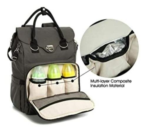 pañalera tipo bolso moderno con cambia pañal incluído gris
