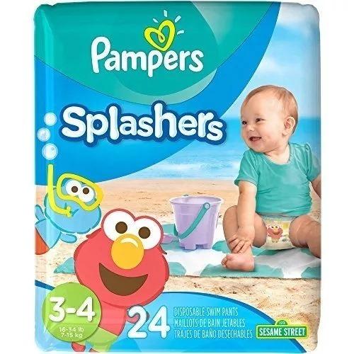 ae110f04f Pañales De Agua Piscina Playa Bebe Pampers Splashers 3 4 X24 ...